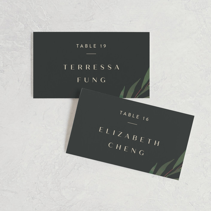 """Modern Leaves"" - Wedding Place Cards in Smoked by Four Wet Feet Studio."