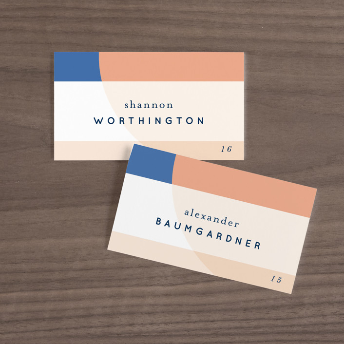 """Color Arch"" - Modern Wedding Place Cards in Aquatic by Baumbirdy."