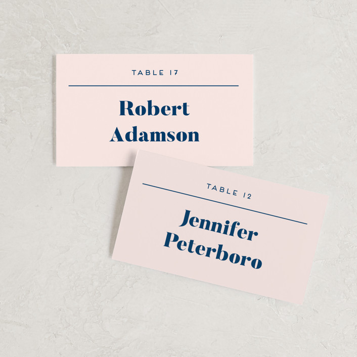 """Vogue"" - Wedding Place Cards in Navy by Genna Blackburn."