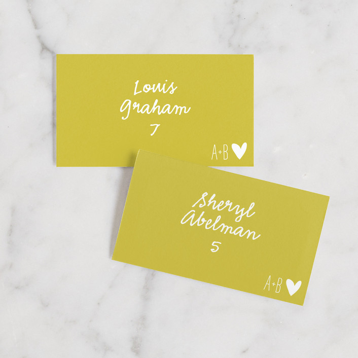 """Passing Notes"" - Modern, Typography Wedding Place Cards in Mustard Seed by annie clark."