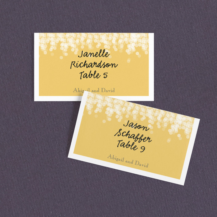 """""""Under the Stars"""" - Wedding Place Cards in Citrus Yellow by Bethany Anderson."""