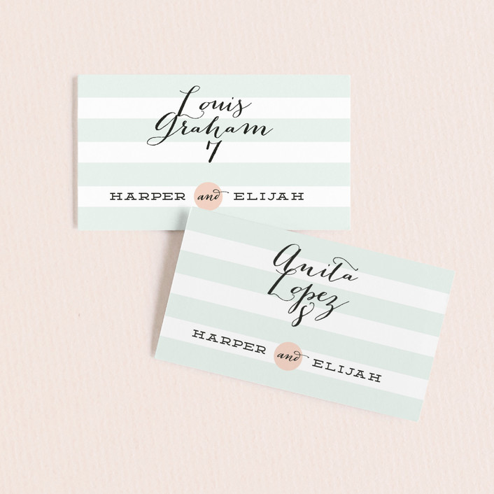 """Striped Sweet Nothings"" - Vintage Wedding Place Cards in Romantic by Frooted Design."