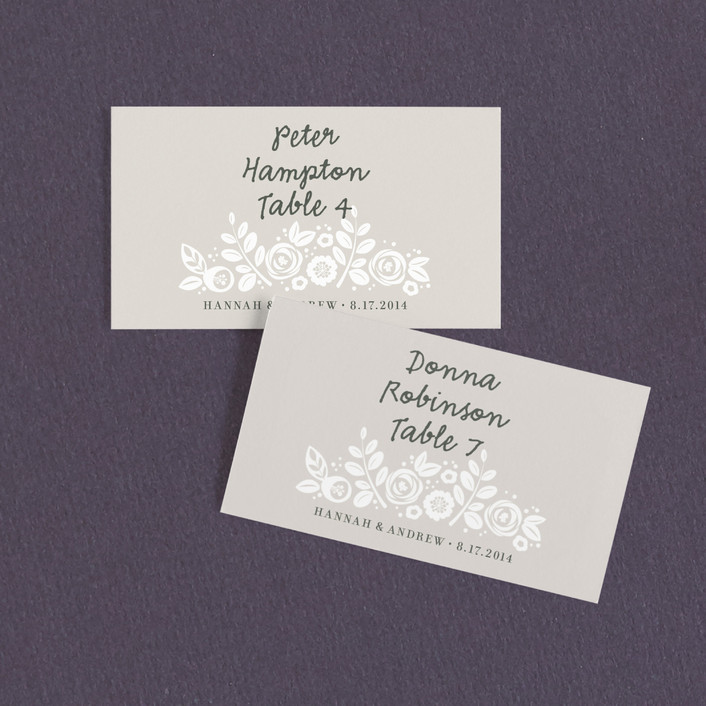 """White Shadows"" - Elegant, Floral & Botanical Wedding Place Cards in Champagne by Jessica Williams."