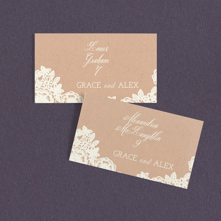 """Lace and Kraft"" - Vintage, Floral & Botanical Wedding Place Cards in Kraft by Katharine Watson."