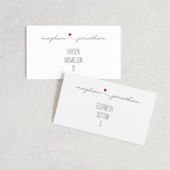 """Love Connection"" - Modern, Simple Wedding Place Cards in Red Hot by Kim Dietrich Elam."