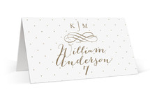 This is a white wedding place card by Kristen Smith called A Glamorous Affair with standard printing on signature in placecard.