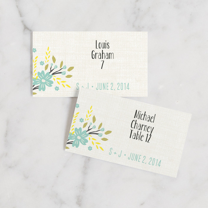 """""""Botanical Blooms"""" - Rustic, Typography Wedding Place Cards in Mint by Kristie Kern."""