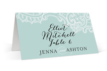 This is a blue wedding place card by Lauren Chism called White Lace with standard printing on signature in placecard.