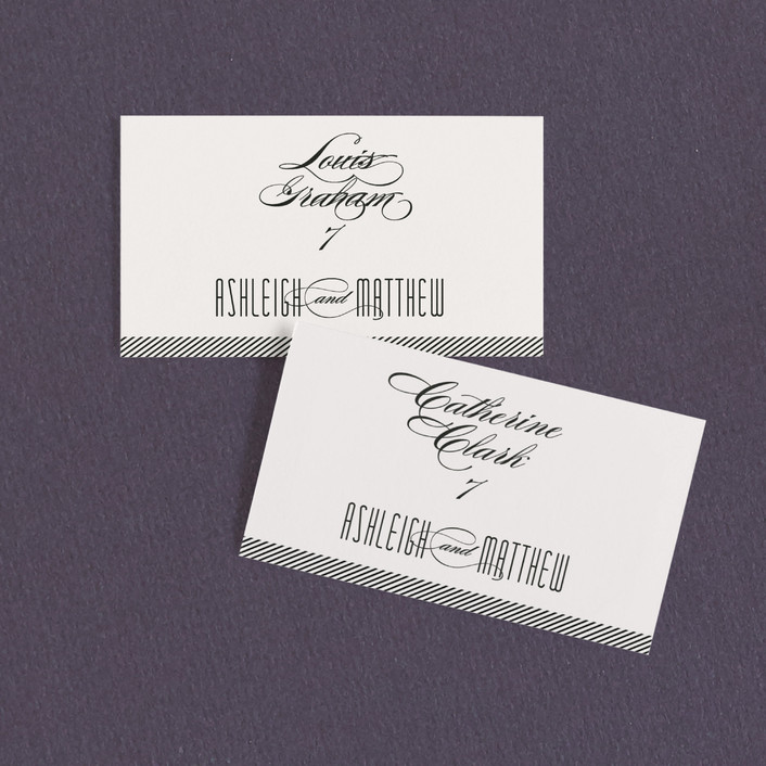 """""""Twine"""" - Modern, Typography Wedding Place Cards in Black by Lauren Chism."""