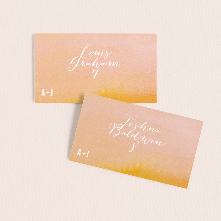 """""""Ombre"""" - Wedding Place Cards in Orange by Dean Street."""