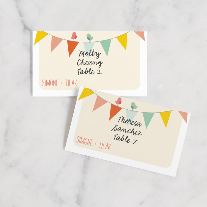 """""""Barn Party!"""" - Rustic Wedding Place Cards in Peach by ZucchiniPress."""