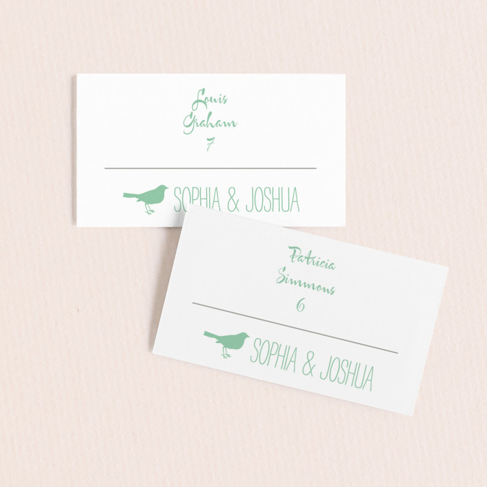 """""""Love Let Loose"""" - Rustic Wedding Place Cards in Seaglass by Paisley Tree Press."""