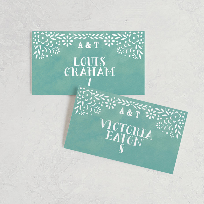 """Fiesta Folk Art"" - Wedding Place Cards in Lagoon by root beer float."