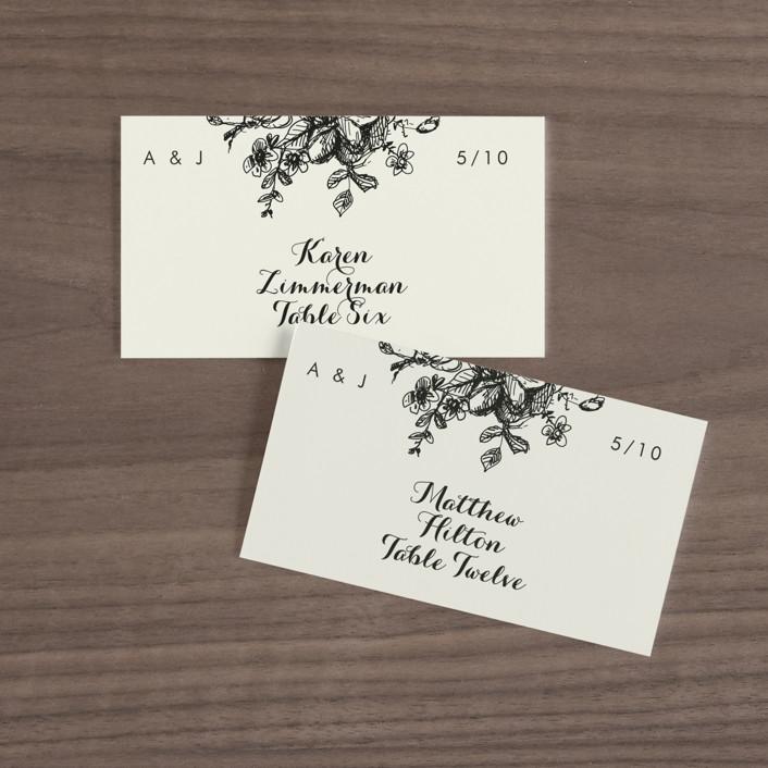 """Elegance Illustrated"" - Wedding Place Cards in Beige by Phrosne Ras."