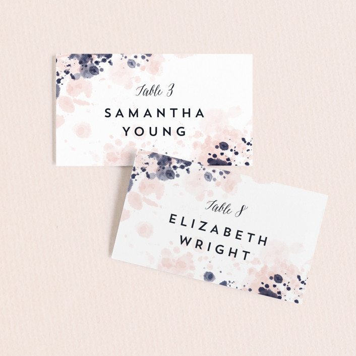 """artful celebration"" - Wedding Place Cards in Blush by Qing Ji."