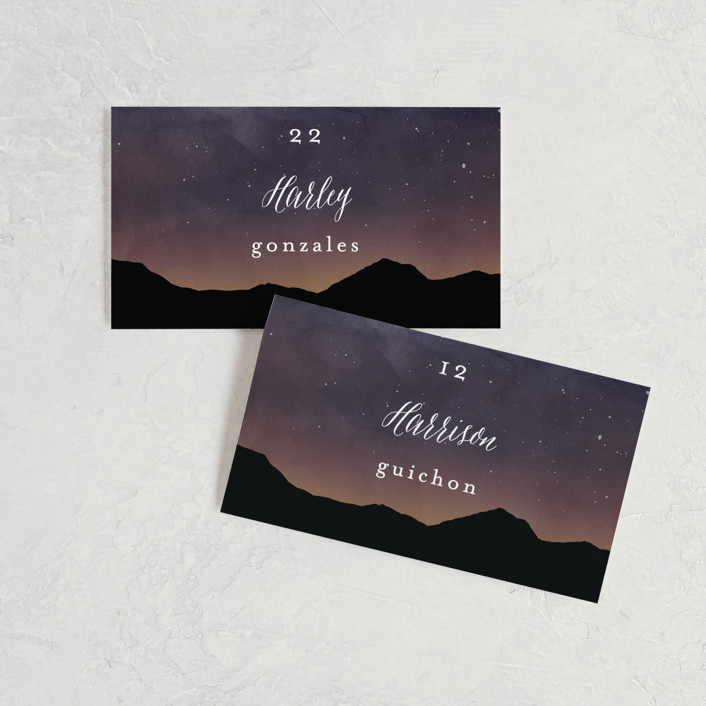 """""""Starry Skies"""" - Rustic Wedding Place Cards in Twilight by Kelly Schmidt."""
