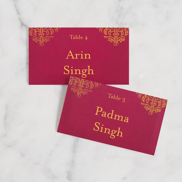 """Anand Karaj"" - Wedding Place Cards in Coral by Ann Gardner."