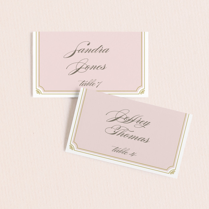 """""""Modern Deco"""" - Vintage Wedding Place Cards in Blush by Bourne Paper Co.."""