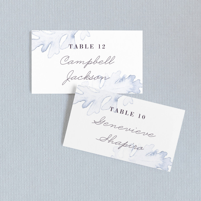 """""""Evening Bloom"""" - Wedding Place Cards in Eggplant by Snow and Ivy."""