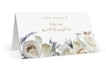 This is a beige wedding place card by Phrosne Ras called romantic bouquet with standard printing on signature in placecard.