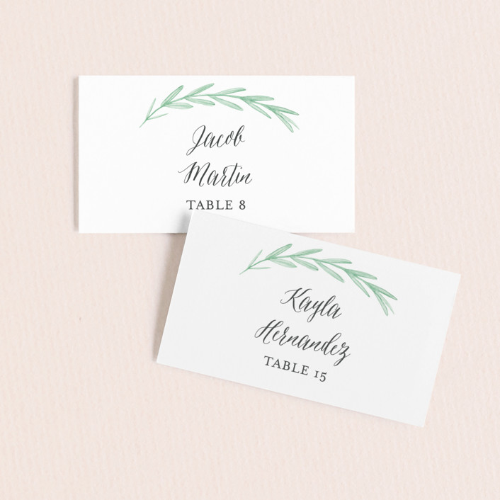 """Painted Leaves"" - Wedding Place Cards in Evergreen by Olivia Raufman."