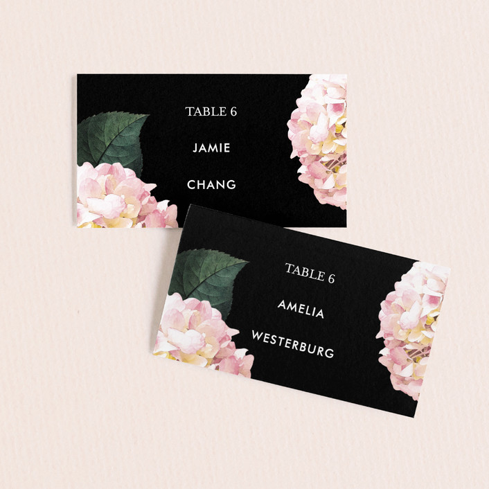 """Peonie Party"" - Wedding Place Cards in Noir by Baumbirdy."