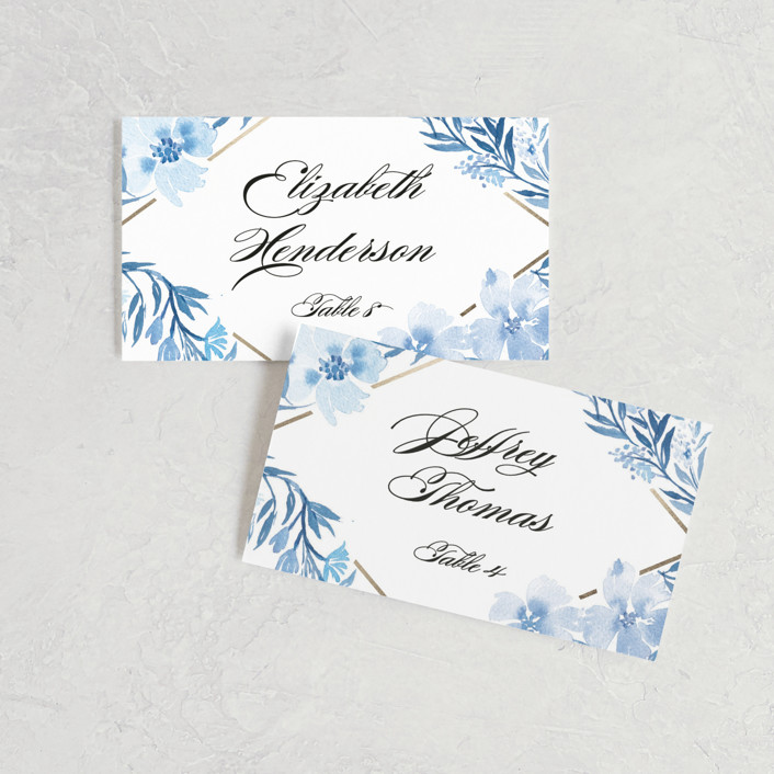 """Poetic Blue"" - Wedding Place Cards in Sky by Qing Ji."