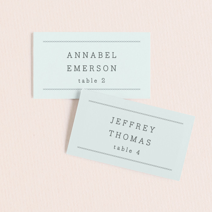 """All About Archer"" - Wedding Place Cards in Mint by Bourne Paper Co.."