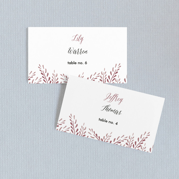 """""""Lupines"""" - Rustic Wedding Place Cards in Marsala by R studio."""