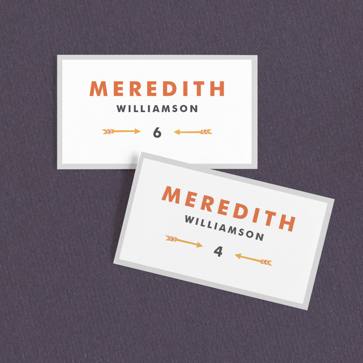 """Modern Arrow"" - Wedding Place Cards in Retro Medley by Kelsey Cashman."
