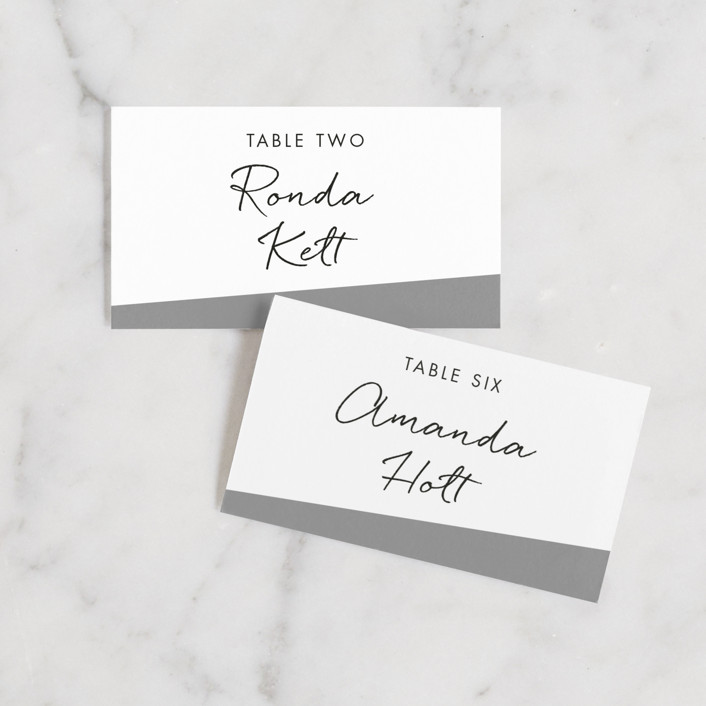 """""""Metropolitan Romance"""" - Wedding Place Cards in Midnight by Makewells."""