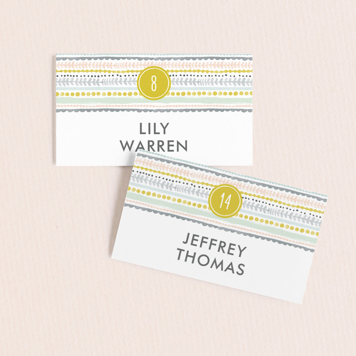 """""""Whimsy Stripe"""" - Bohemian Wedding Place Cards in Mint by Alethea and Ruth."""