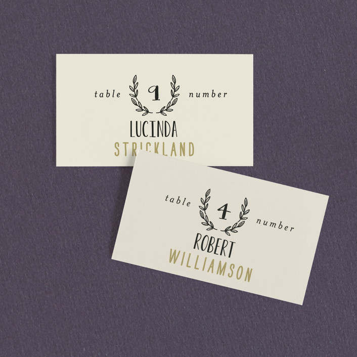 """Organic Elegance"" - Rustic Wedding Place Cards in Cream by Alethea and Ruth."