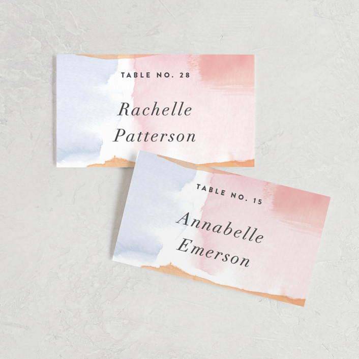 """Watercolor Wisp"" - Wedding Place Cards in Blush by Ariel Rutland."