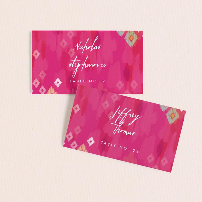 """Boho Ikat"" - Bohemian Wedding Place Cards in Fuchsia by Penelope Poppy."