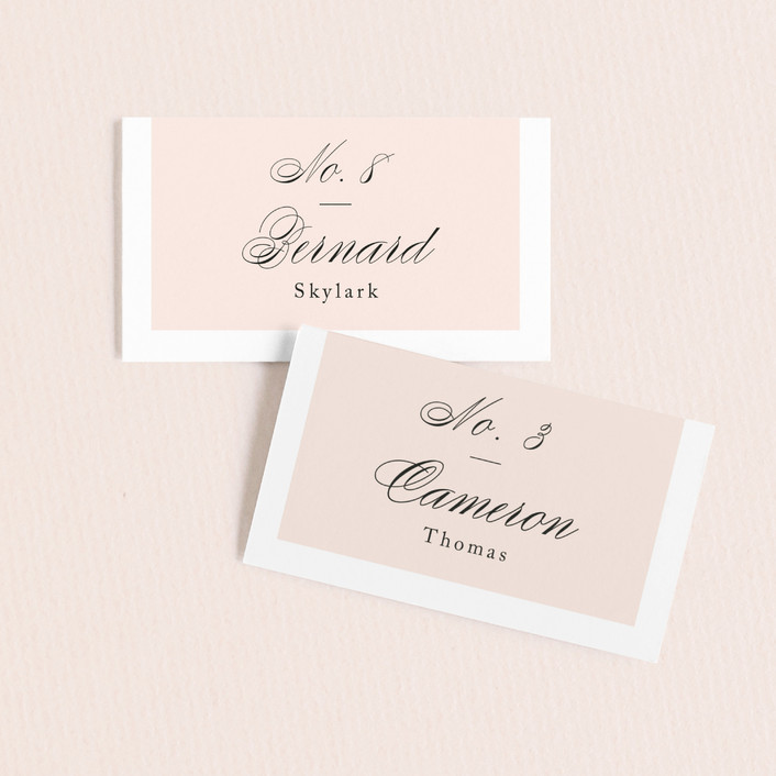 """""""Darling and Dashing"""" - Preppy Wedding Place Cards in Blush by Alston Wise."""