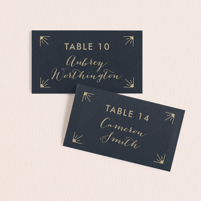 """""""Elegantly Modern"""" - Vintage Wedding Place Cards in Navy by Robinson Paperie."""