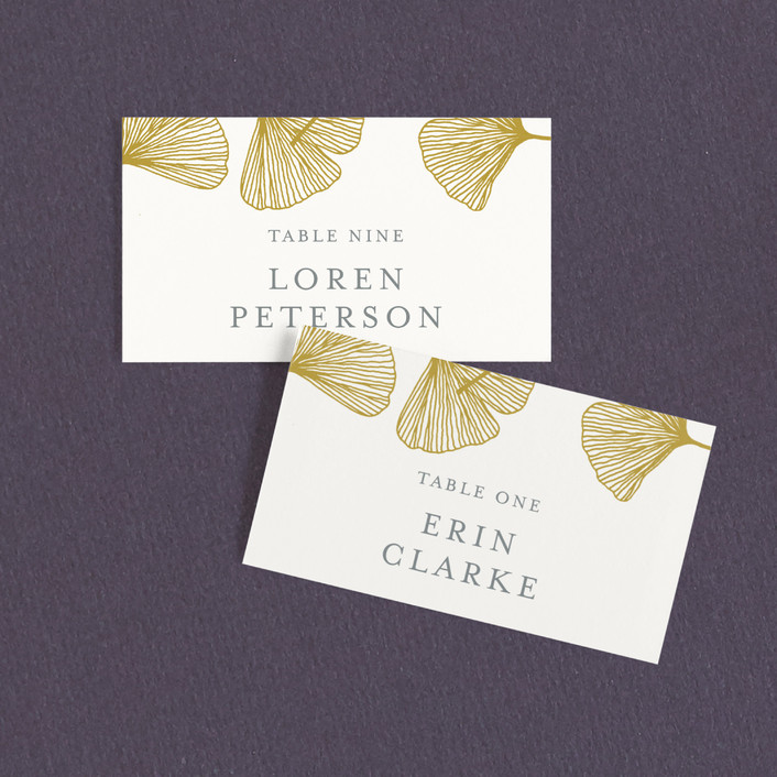 """Falling Ginkgo"" - Bohemian Wedding Place Cards in Mustard by Katharine Watson."