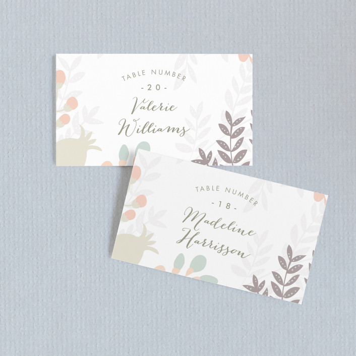 """Flower Burst"" - Wedding Place Cards in Blush by Phrosne Ras."