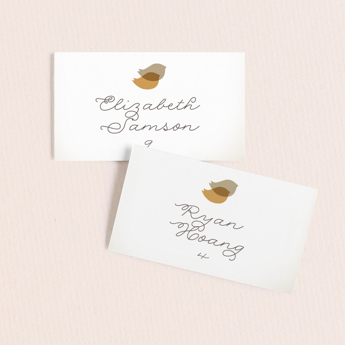 """""""Nestled"""" - Whimsical & Funny Wedding Place Cards in Pumpkin Spice by Design Lotus."""