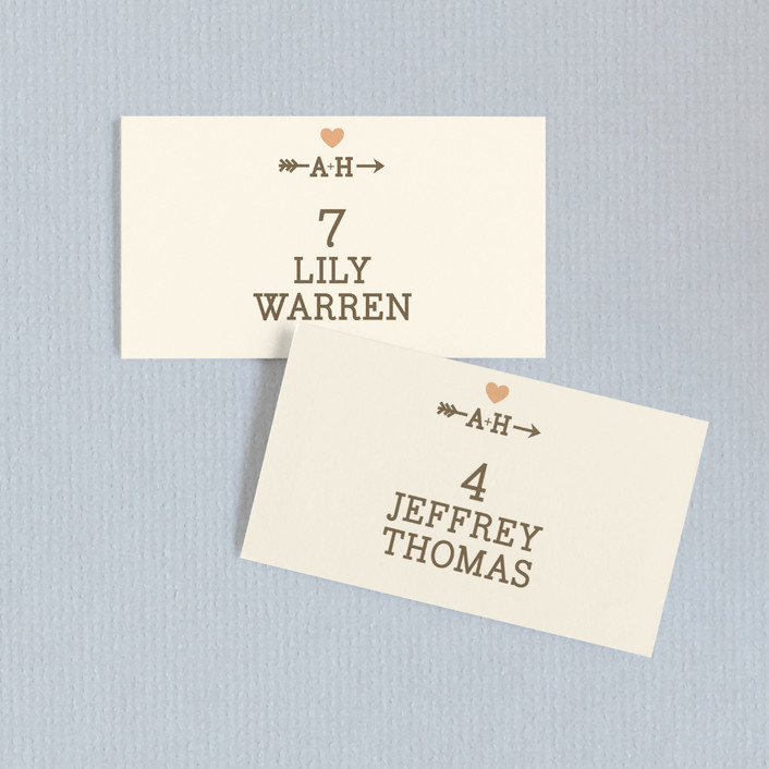 """""""Love Struck"""" - Whimsical & Funny Wedding Place Cards in Pale Salmon Peach by The Social Type."""