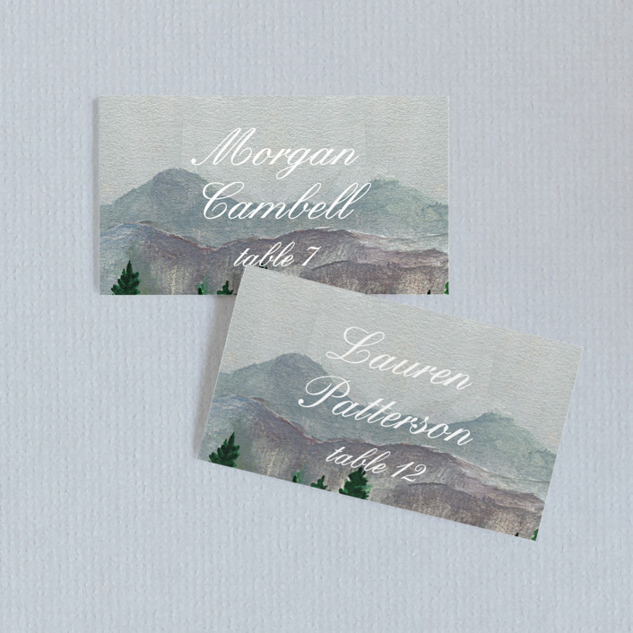 """Adventure Awaits"" - Rustic Wedding Place Cards in Smoke by Elly."