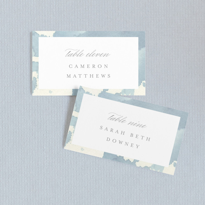 """Reverie"" - Wedding Place Cards in Periwinkle by Sara Hicks Malone."