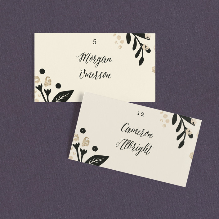 """Statement Florals"" - Wedding Place Cards in Gold Leaf by Jennifer Wick."