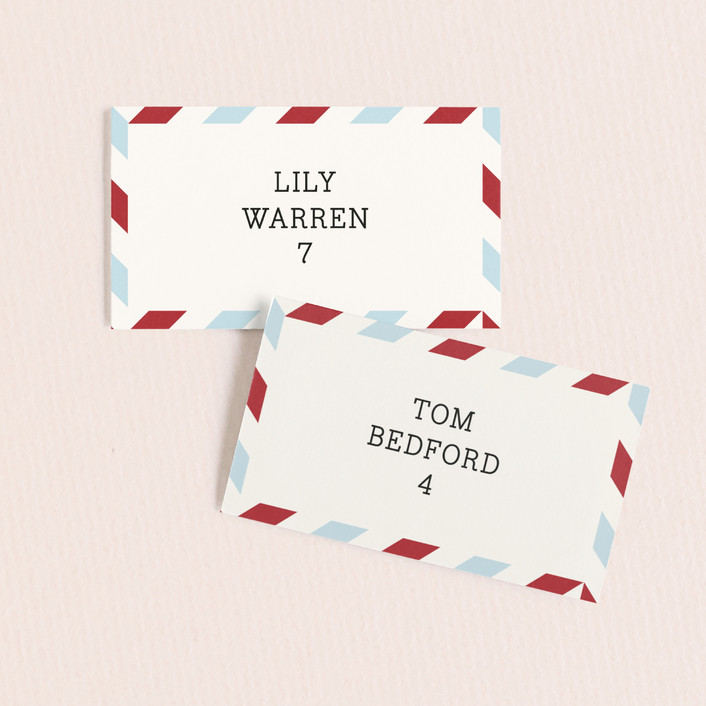 """Airmail"" - Whimsical & Funny Wedding Place Cards in Ivory by annie clark."
