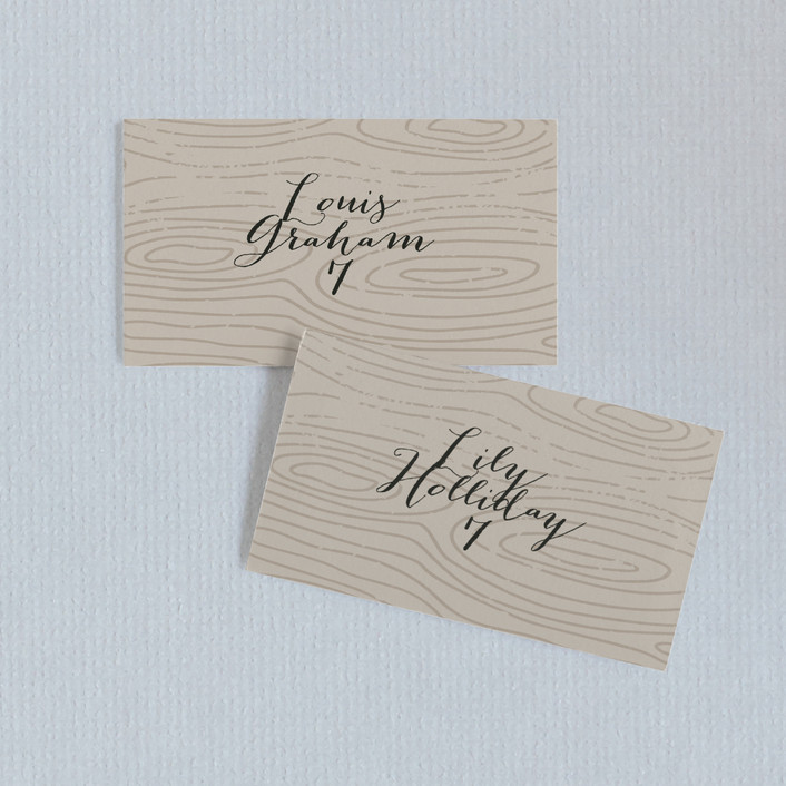 """""""Silver and Gold"""" - Wedding Place Cards in Taupe by Jody Wody."""