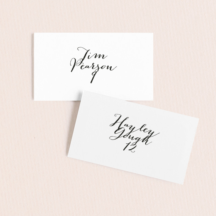 """Modern Mint"" - Simple Wedding Place Cards in Cotton by Marabou Design."