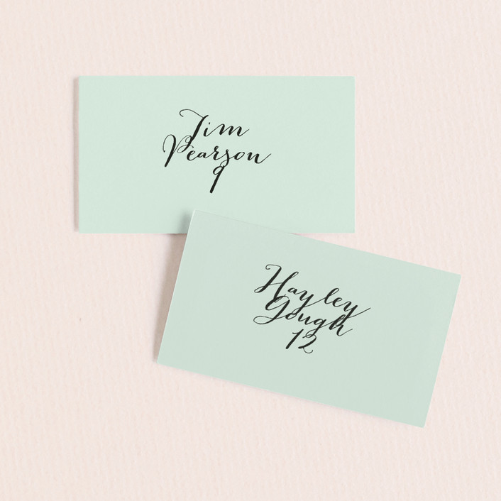 """""""Modern Mint"""" - Simple Wedding Place Cards in Cotton by Marabou Design."""