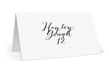This is a white wedding place card by Marabou Design called Modern Mint with standard printing on signature in placecard.