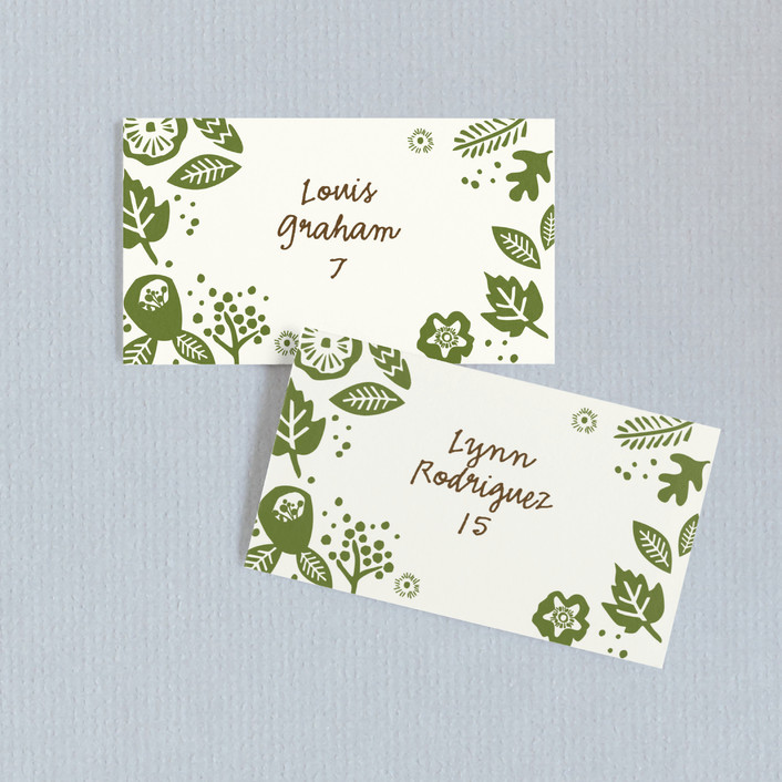 """Rustic Harvest"" - Simple Wedding Place Cards in Hunter by Griffinbell Paper Co.."